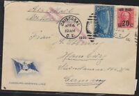 O) 1930 CANAL ZONE, GOETHALS, HAMBURG AMERICA LINE ENVELOPE USED FROM CRISTOBAL