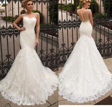 NEW White/Ivory Lace Mermaid Wedding Dress Bridal Gown Custom Size 4 6 8 10 12 +