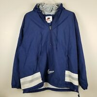 Nike Mens Vintage Pullover Windbreaker Hooded Blue Jacket 90s Swoosh Kangaroo XL