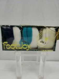 Women Foot-Joy Roll Top Vintage Golf Socks Set of 3 White With Navy/Teal/White