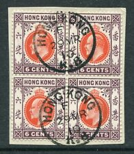1910 Hong Kong KEVII 6c stamps in Block of 4 on Piece with Nice K.B. CDS Pmks