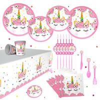 Unicorn Birthday Party Baby Shower Banner Flag Decoration Tableware Set Supplies