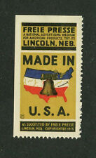 Vintage Poster Stamp Label LINCOLN NE FREIE PRESSE Free Press MADE IN USA 1915