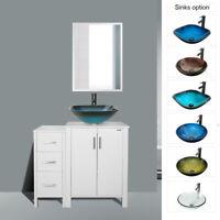 "36"" Bathroom Vanity W/ Mirror Combo Round Square Vessel Sink Faucet W/ Drain"