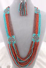 Tribal Orange Turquoise Brown Bead Necklace Set Fashion Jewelry New