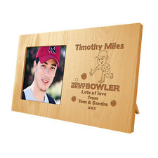 Personalised Mens Boys Sons World's Best Bowler Wooden Photo Frame Bowling Gift