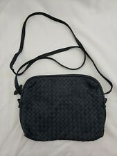 Vintage Ganson Black Woven Leather Crossbody Bag Small Purse
