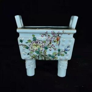 Chinese Color Porcelain Hand-made Exquisite Flowers & Birds Incense Burners 3124