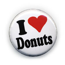 Badge I ♥ LOVE DONUTS coeur heart gourmandise yummy pop culte pin button Ø25 mm