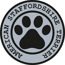 1x American Staffordshire Terrier Paw Print Seal Track Funny Sticker Dog Decal