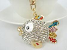 KC052 Fish Fashion Keyring Rhinestone Crystal Charm Pendant Key Bag Chain Gift
