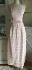 VINTAGE 1960'S PINK TIERED RUFFLED PARTY DRESS SEARS GOWN