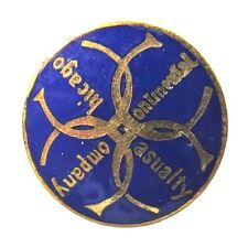 1890's CONTINENTAL CASUALTY COMPANY CHICAGO enamel collar lapel stud INSURANCE +