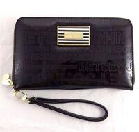 "Betsey Johnson Oversized Patent Wallet 8x5"" Travel Wristlet Sleek Black Zip Up"