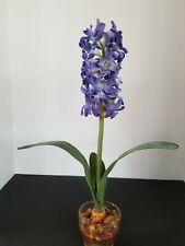 Artificial Silk Flower Blue Hyacinth scented in Glass  W/Artificial Water