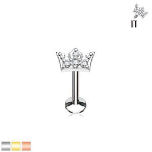 CZ Crown Top Lip Labret Conch Tragus Helix Daith Ear Cartilage Studs Piercing