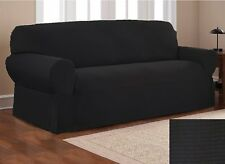 Fancy Linen Sure Fit Stretch Fabric Sofa Slipcover 3 Pc Solid Black New