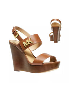 MICHAEL KORS Deanna Wedge Brown Luggage Leather Wedge Size 10 New In Box $155