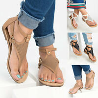 Women's Casual Rome Solid Hollow Out Open Toe Zipper Sandals Flat With Shoes