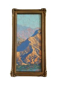 California Artist REY. Fine Oil Painting PALM SPRINGS Gem Antique Piecrust Frame