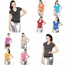 Unbranded V Neck Casual Striped Tops & Shirts for Women