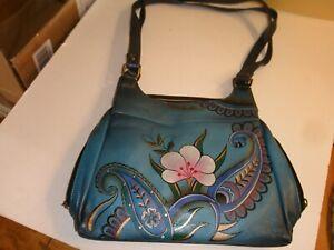 anuschka hand painted leather denim floral paisley satchel handbag preowned