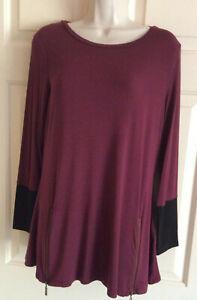 IVANKA TRUMP Long Sleeve Burgundy & Black Rayon Stretch Tunic Top ~ Size M