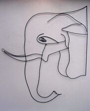 Unusual Hand Made Elephant Head Silhouette Profile Abstract Metal Elephant Art