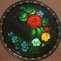 VINTAGE RUSSIAN FLORAL HAND PAINTED METAL TOLE TRAY PLATTER