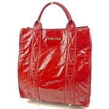miumiu Tote bag Logo Red Woman unisex Authentic Used T3714