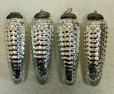 Vintage Lot of 4 Mercury Glass Christmas Kugel Corn Shaped Ornaments