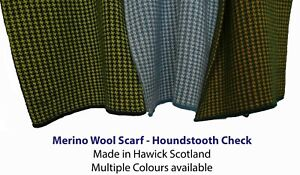Pure Merino wool Scarf - Houndstooth Check - Made in Hawick, Scotland