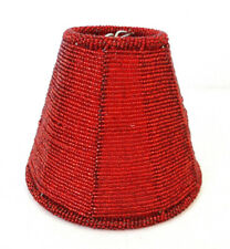 "Small Clip-On Lamp Shade Red Bell Beaded Glass 2.5W"" x 5.25W"" x 4.25"" H  Ornate"