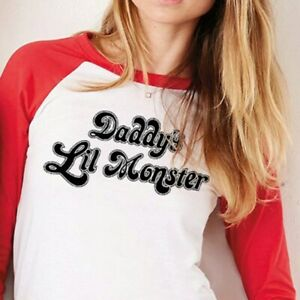 Harley Quinn Cosplay Shirt - Daddy's Lil Monster - Suicide Squad 3/4 Sleeve T
