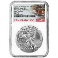 2020 (S) $1 American Silver Eagle NGC MS70 Emergency Production Trolley ER Label