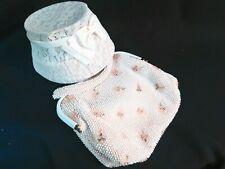 Antique/ Vtg Cream Floral Beaded Handbag & Ladies Hat w/ Satin Ribbon