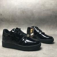 A BATHING APE BAPESTA Black Patent Sneakers Size US6
