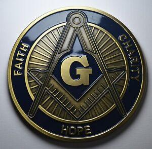 Large Enamelled MASONIC Car Emblem/Decoration/Badge. Freemasonry, Mason. 75mm