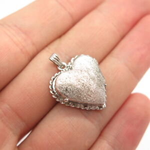 Antique Art Deco 925 Sterling Silver Handcrafted Heart Locket Pendant