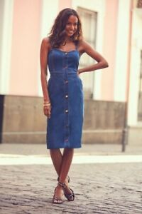 Sosander Denim Pinafore Dress Bnwt Size 10