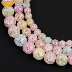 "Round Mulit Color Crackle Rock Quartz Crystal Loose Beads 15"" Dyed 6mm 8mm 10mm"