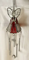 "Red & Clear Stained Glass Angel Silver Bell Shapes Wind Chime 10 1/2"" Long"
