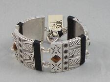The Sak Silver Tiger's Eye Black Thread Inlay Wide Toggle Flex Bracelet SB0010
