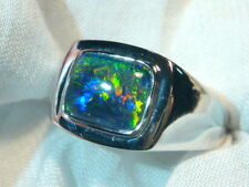 Mens Opal Ring Sterling Silver, Natural Opal Triplet. 10x8mm Rectangle. #070591