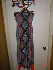 MAURICES Ladies Size S Multi-Colored Halter Style Dress Long Dress FREE SHIPPING
