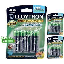 12 x Lloytron AA Rechargeable Batteries 1300 mAh NiMH HR6 HR6 ACCU phone