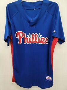 1409 Mens Majestic PHILADELPHIA PHILLIES Authentic BP Baseball JERSEY BLUE LARGE