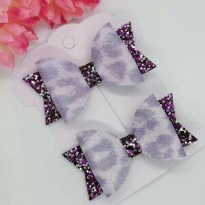 Purple Leopard Hair Clips BOWS GIRLS CLIPS  Hair bows purple