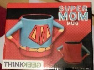 NIB Super Mom Coffee Mug 15oz Cup Glass Superhero Thinkgeek Superman Parents