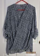 Ladies Long Sleeved black & white Blouse size 20 Katies Brand